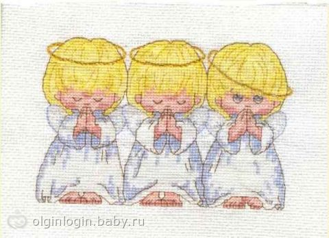 Схемы вышивки. 3 ангелочка.