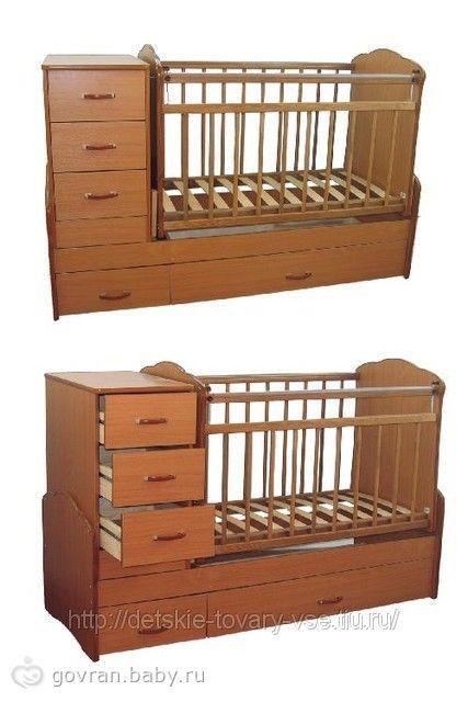 Детская кроватка-трансформер с комодом Маятник СКВ (73003) .