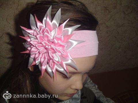Повязка на голову для девочки своими руками из атласных лент мастер 34