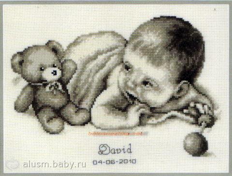 """""""Малыш и мишка.  (Канва - хлопок, экрю.  Наборы для вышивания - вышивки в подарок мужчинам и женщинам."""