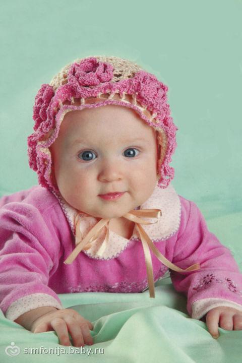 Шапочка-чепчик для девочки 6 месяцев ( вязание крючком ...: http://www.baby.ru/community/view/125648/forum/post/70358389/