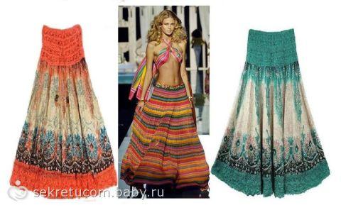 Цветная юбка в пол фото
